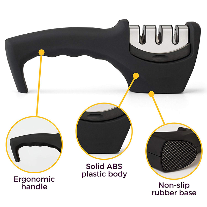 Kitchen Knife Sharpener, 3-Stage Knife Sharpening Tool Helps Repair, Restore and Polish Blades - Cut-Resistant Glove Included