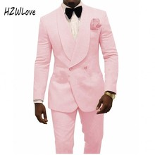 Handsome  Pink Groom Tuxedos Mens Wedding Shawl Lapel Jacket Blazer Fashion Men Prom/Dinner 2 Piece Suit(Jacket+Pants