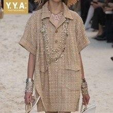 Summer Women Casual Tweed Dress Pocket Lapel Collar Plaid Twill Dress Streetwear