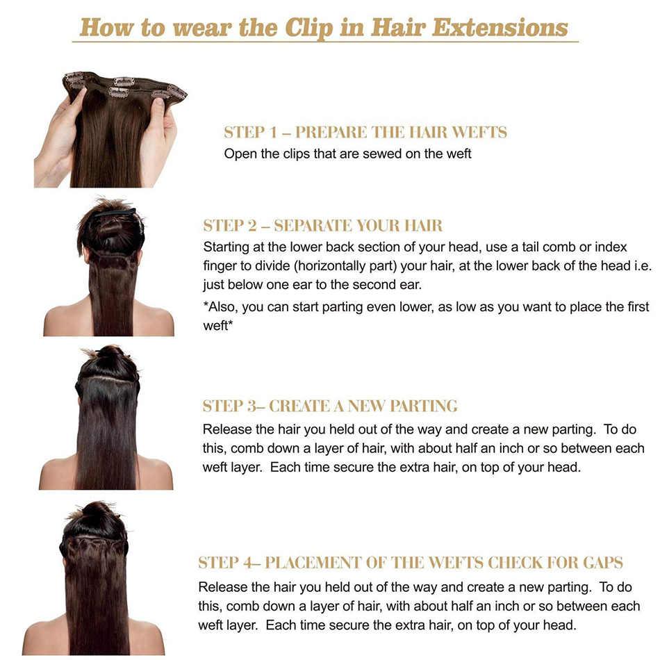 BHF Clip in Human Hair Extensions 10 stuks 200 g/set en 7 stks/set 100g Remy Braziliaanse Straight clip ins volledige Hoofd