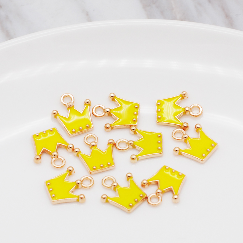 30pcs/pack 11*12mm Gold Color Tone Charm Pendants Alloy Metal Enamel Charms For DIY Jewelry Making 2