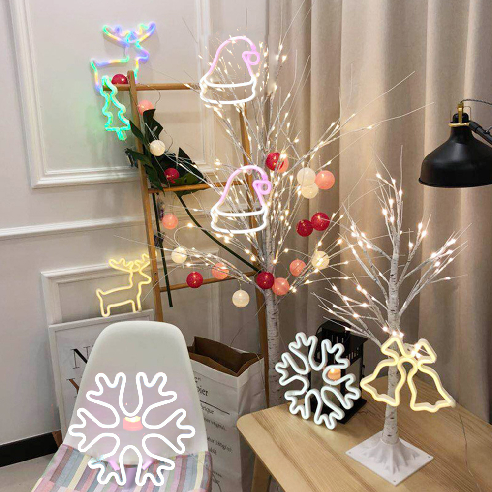 USB/Battery Powered LED Neon Sign Art Light Chirstmas Tree Snowflake Night Lamp Holiday Xmas Party Wedding Kids Room Decoration