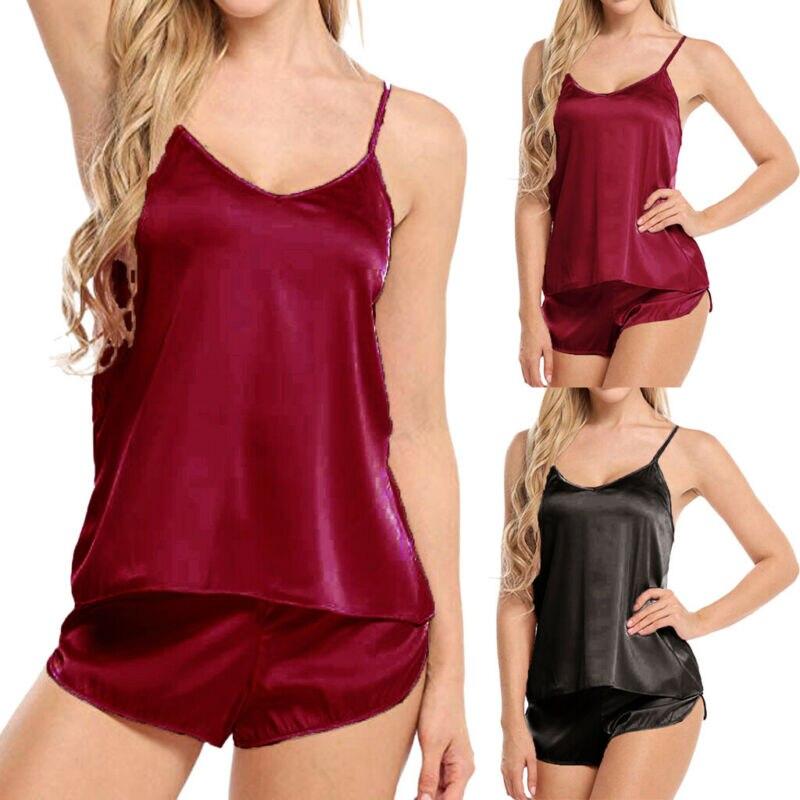 Women Sexy Summer Lace Sleepwear Pajama Sets Silk Satin Lingerie Female Casual Cami Sleeveless Tops+Shorts Solid Nightwear