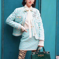 Sweet Style 2 Piece Suit 2019 Autumn Winter Fashion New Mint Green Color Matching Long Sleeved Jacket Half Skirt Wool Women Suit