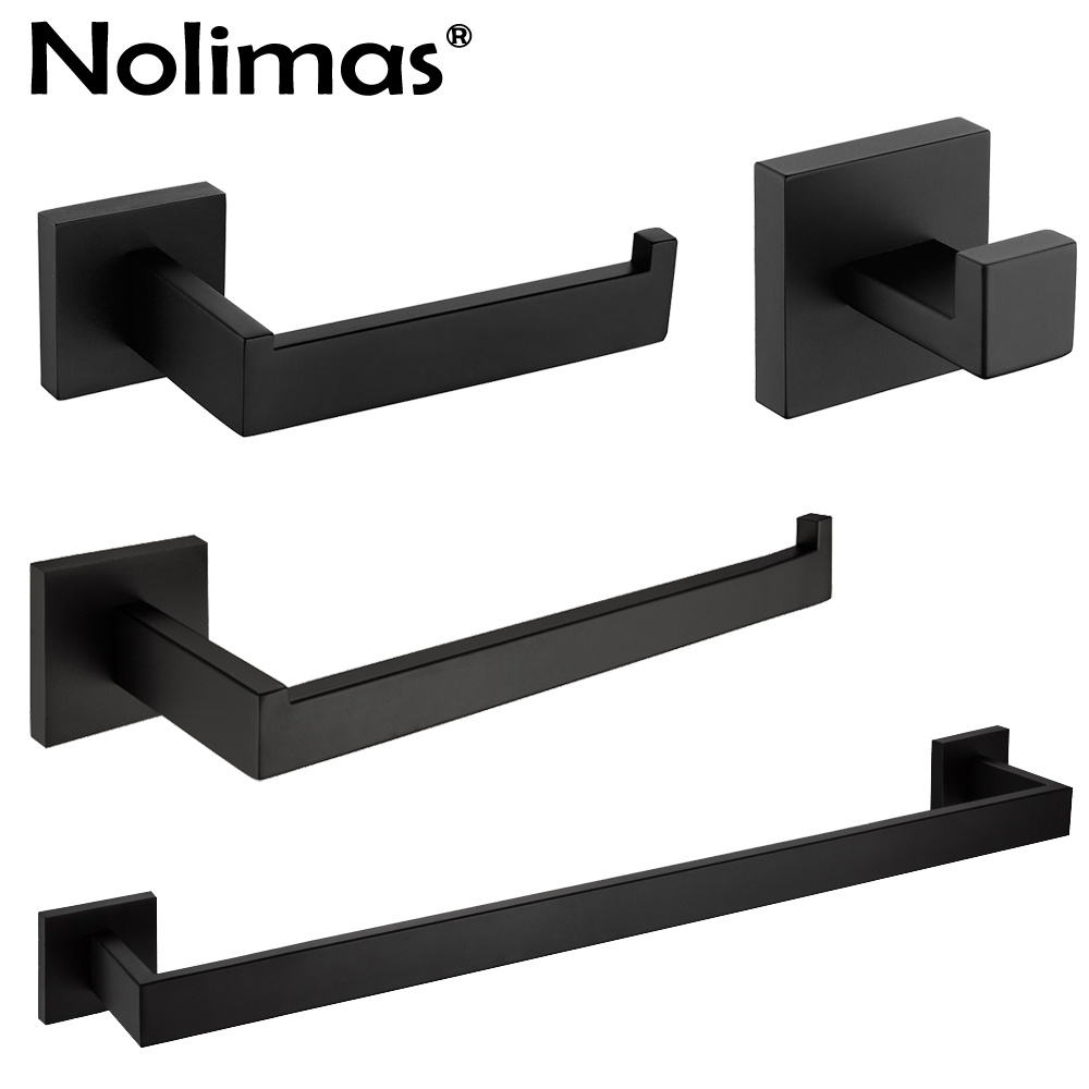 Matte Black Stainless Steel Bathroom Hardware Accessories Set Robe Hook Towel Bar Towel Ring And Toilet Paper Holder