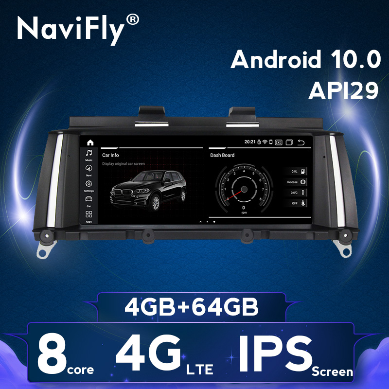 NaviFly IPS 8Core Android10 4G RAM 64G ROM Car GPS Radio Cassette For BMW X3 F25 X4 F26 2011-2017 With 4G Sim Wifi BT DAB+ OB2