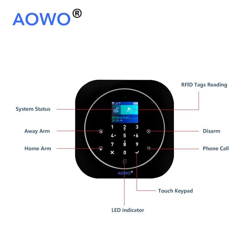 WiFi GSM Wireless Security Alarm mit Tuya APP Alexa Google Smart Home Voice Control TouchScreen RFID IP Cam Touchscreen RFID - 6