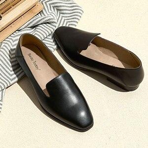 Image 2 - BeauToday loaferlar kadın dana derisi deri marka kare ayak Slip On bayan daireler en kaliteli ayakkabı el yapımı 27089
