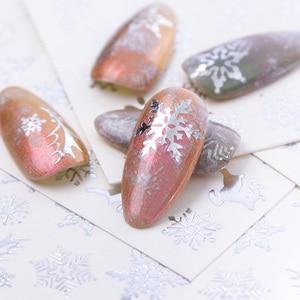 Image 3 - 16 Stk/set Winter Xmas Stickers Voor Nagels Goud Zilver Kerst Sneeuwvlok Water Transfer Decal Slider Manicure Decoratie BESTZ YA