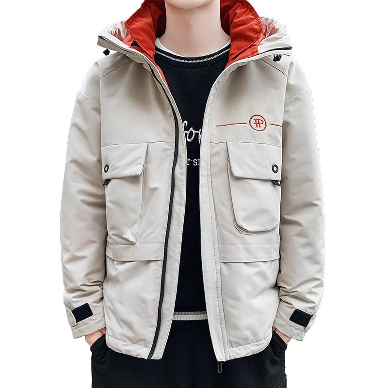 Anbican Fashion 2019 Winter Mens Parka Coat Hooded Windbreaker Jacket Men Warm