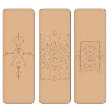 Пробковый коврик для Йоги (183x61x0,4) с узорами