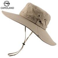 CAMOLAND-Sombrero de pescador impermeable UPF50 + para hombre y mujer, gorro de playa de Panamá de ala ancha, senderismo al aire libre, gorro Boonie de pesca