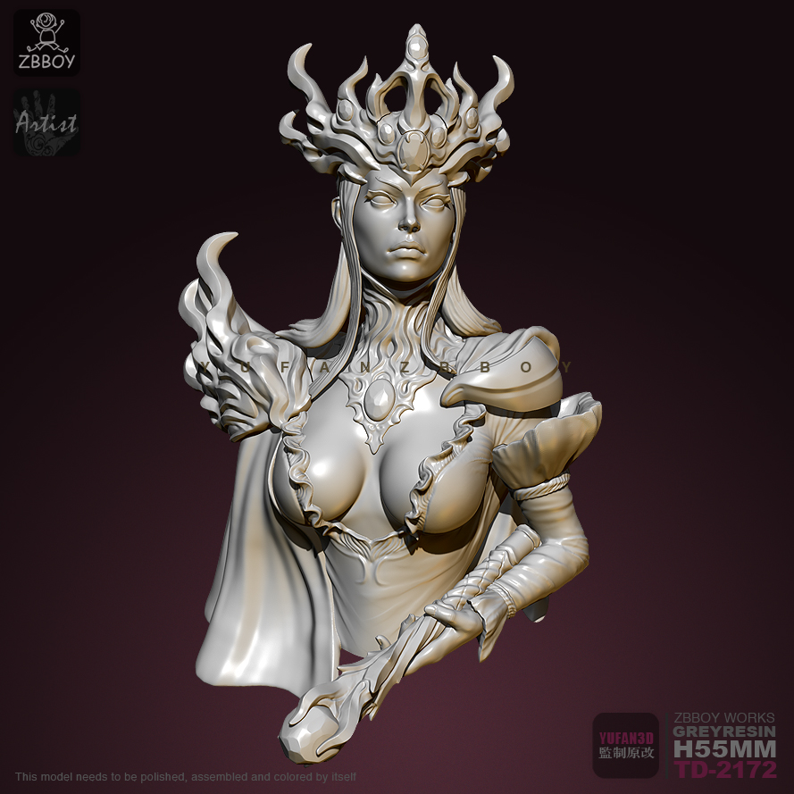 55mm Resin Bust Empress Of The Deep Sea Resin Model Self-assembled TD-2172
