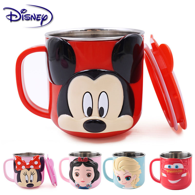 Disney 300ML Baby Kids Milk Cup Cartoon Creative Drink Water Cups Baby Training Learn Drinkware Juice Cup Stainless Steel Mugs