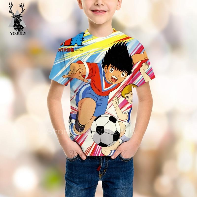 Hot Sale Summer Short Sleeve Captain Tsubasa Shirt Kids Fashion Funny Football Men T-shirts 3D Anime Harajuku Tee Streetwear Top