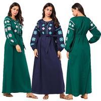 New Ethnic Abaya Muslim Women Dress Puff Sleeve Embroidery Kaftan Casual Loose Long Robe Vintage Clothing Dubai Gown Fashion