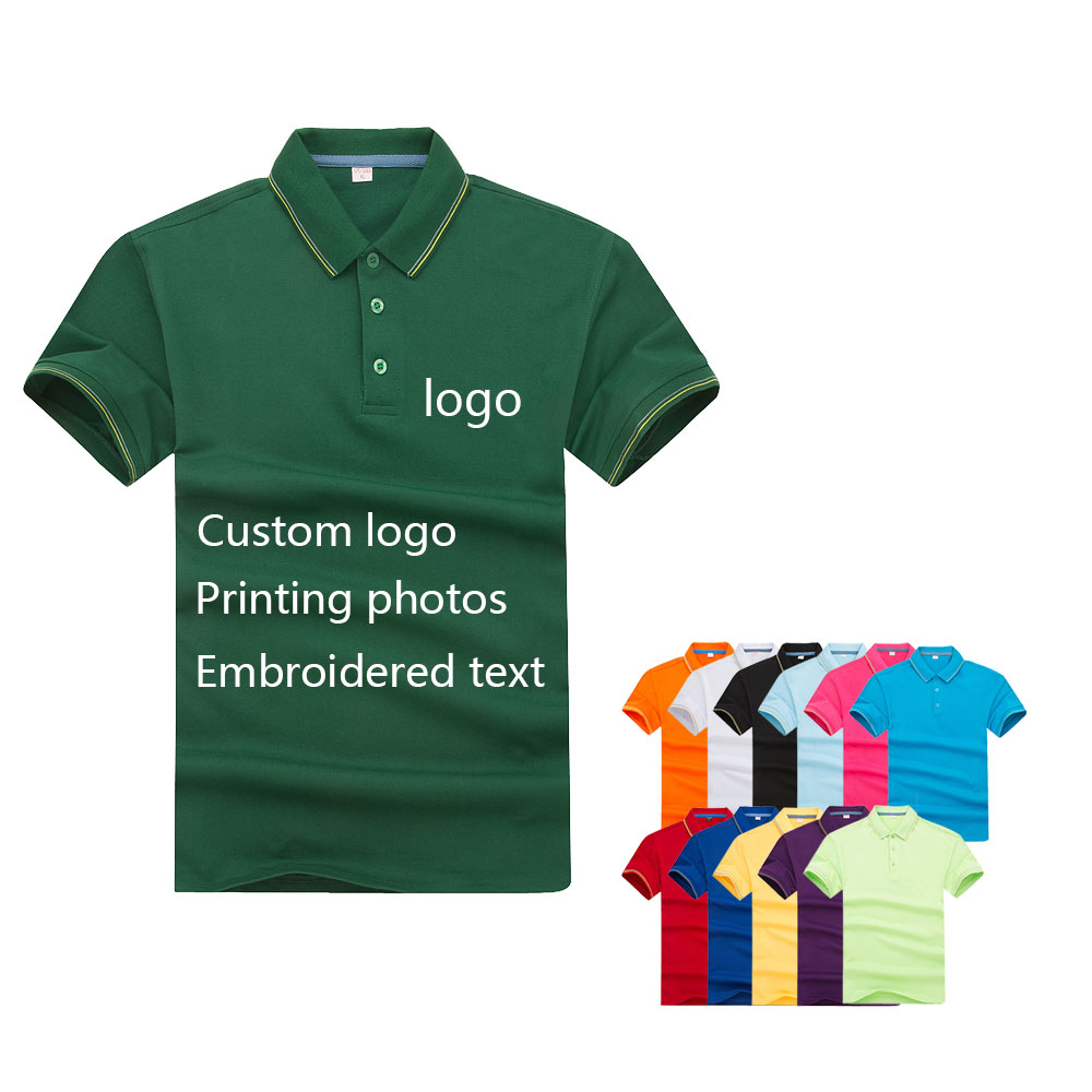 Lycra Striped Short-sleeved Polo Shirt Men And Women Overalls Embroidery Logo Custom Group Cultural Shirt Printed Text