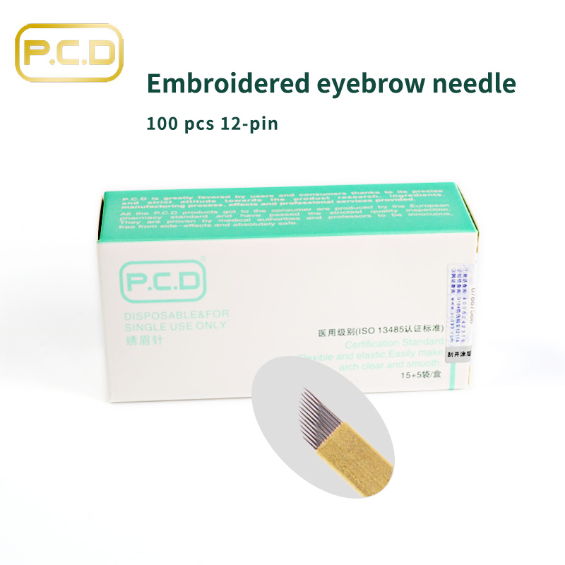100 Pcs PCD 12 Pin Permanent Makeup Eyebrow Tatoo Blade Microblading Needles For 3D Embroidery Manual Tattoo Pen C0