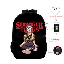 Stranger Things Season 3 Backpack Funny Eleven Boys Girls School Backpacks Bag Hip Hop Usb Cable School Bag for College Teenager