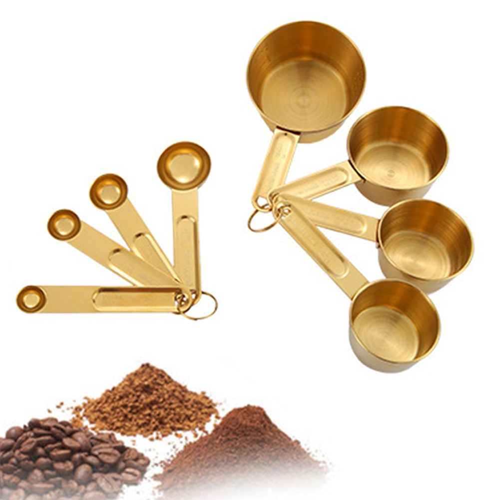 8pcs Stainless Steel Gold Measuring Cups Measuring Spoons Set Dry And Fluid Ingredients Kitchen Cooking Utensils Wholesale A28