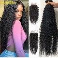 Luvin 28 30 дюймов глубокая волна пряди с закрытием бразильские человеческие волосы 3 4 пряди кудрявые с 4x4 кружева Clsoure Remy наращивание волос