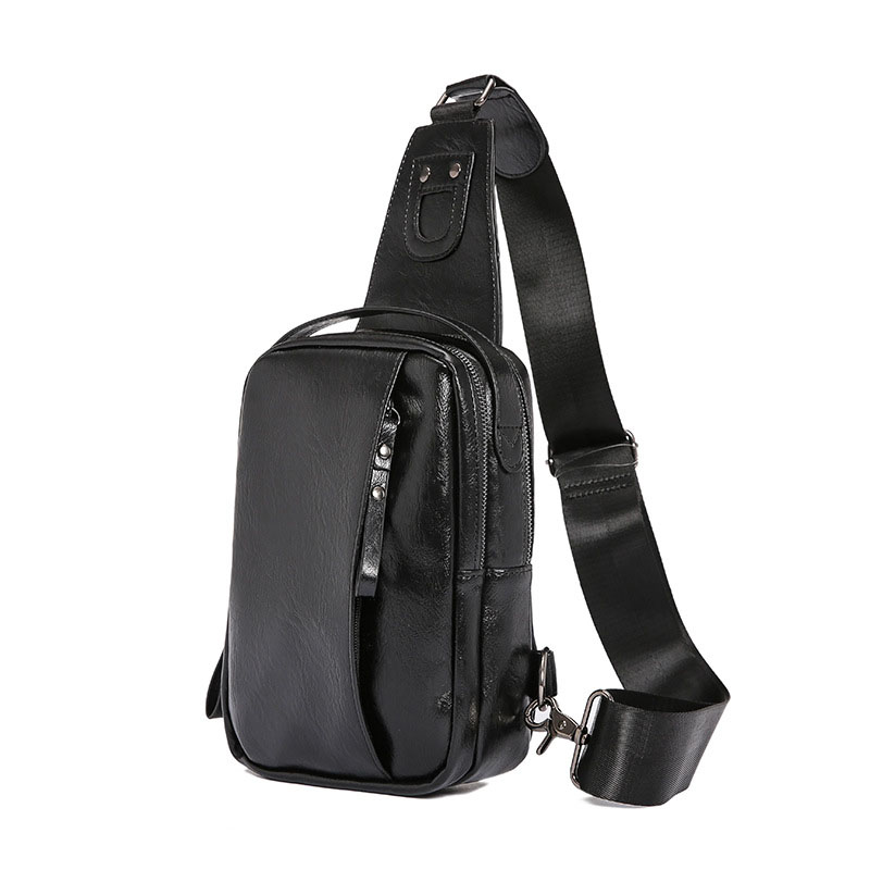Soft Leather Chest Bag Men with USB Charging Chest Pack Crossbody Bag for Men Handbag Fashion Men Bag Purses