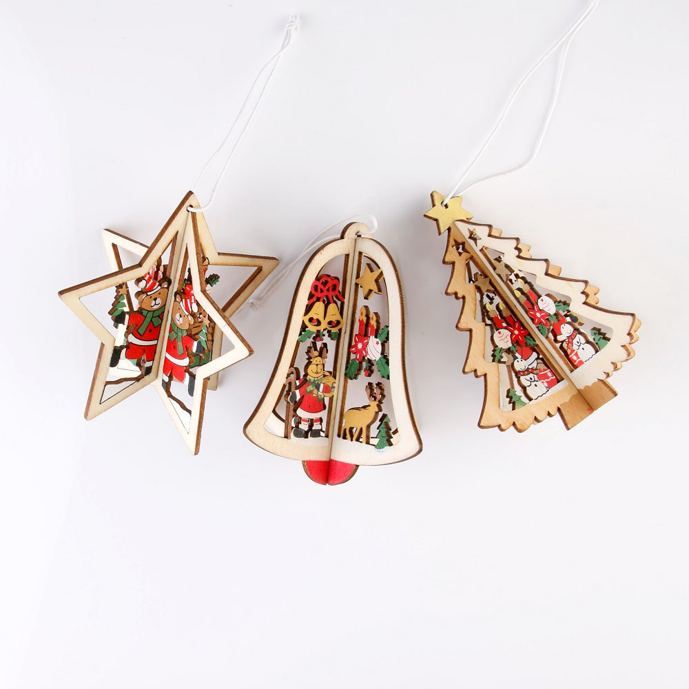 1Pcs New Christmas Tree Ornaments Hanging Xmas Tree Home Party Decor 3D Pendants High Quality Wooden Pendant Decoration
