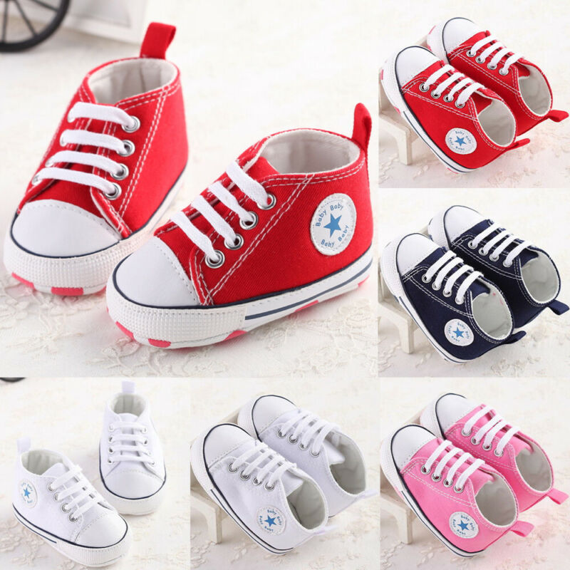 Newborn Baby First Walkers Crib Shoe White Soft Anti-Slip Sole Unisex Toddler Infant Casual Canvas Baby Infant Boys Girls Shoes