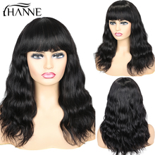 Wigs Headband Human-Hair Body-Wave Black Women Brazilian 100%Natural HANNE for with Bangs