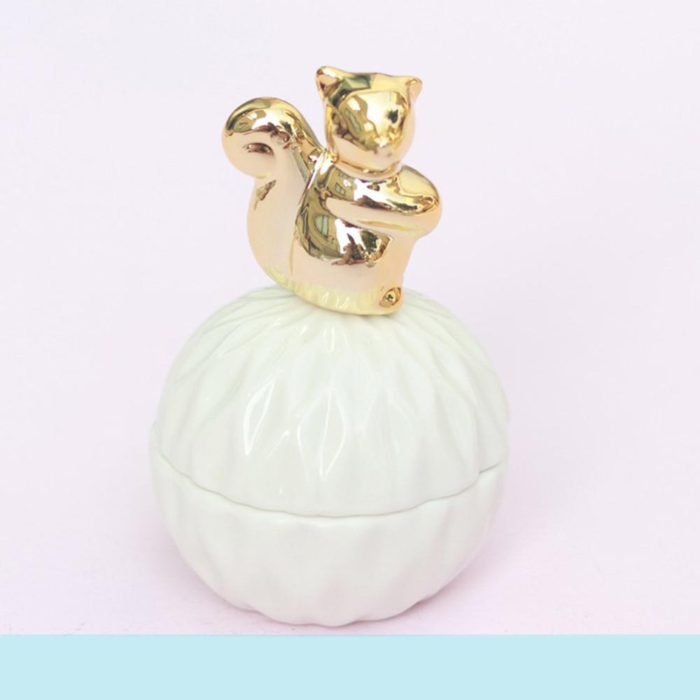 Caja de joyería de cerámica dorada con cubierta de ardilla estrella de mar pájaro oso Conejo caja de almacenamiento ins chica corazón regalo TINTON LIFE Bolsas de almacenamiento Bolsas de conserva de alimentos 12 + 15 + 20 + 25 + 28 cm * 500 cm 5 Rollos/Lot