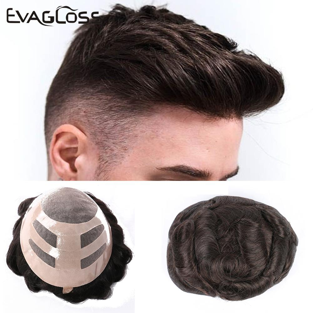 2020 New 6inch Toupee Men Human Hair System Wigs Blonde Pu&Lace Wig Mens Human Hair Toupee Raw Indian Hair Piece Free Shiping