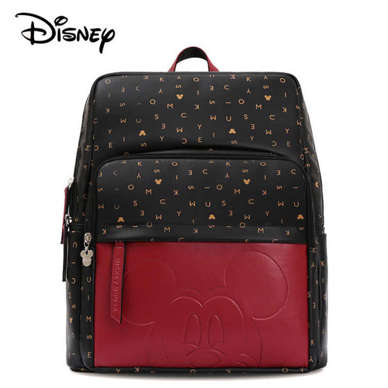 2019 Disney Leather Diaper Bag USB Baby Care Backpack Mummy Pregnant Women Wet Bag Waterproof Baby Pregnant Bag Mickey Baby Bag