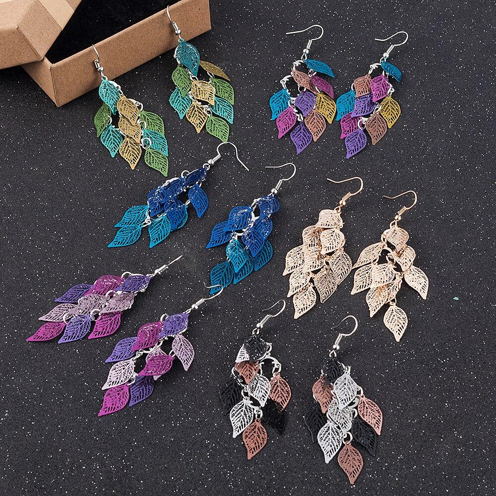 Leaf Earrings Boho Earring Rainbow Color Jewerly Dangle Drop