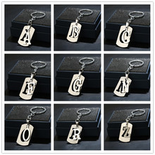 NEW DIY A-Z Letters Double-deck Key Chain Stainless Steel Keychain Car Key Ring Simple Letter Name Key Holder Party Gift Jewelry 20pcs new fashion keychain 39x26mm car vw bug beetle herbie pendants diy men jewelry car key chain ring holder souvenir for gift