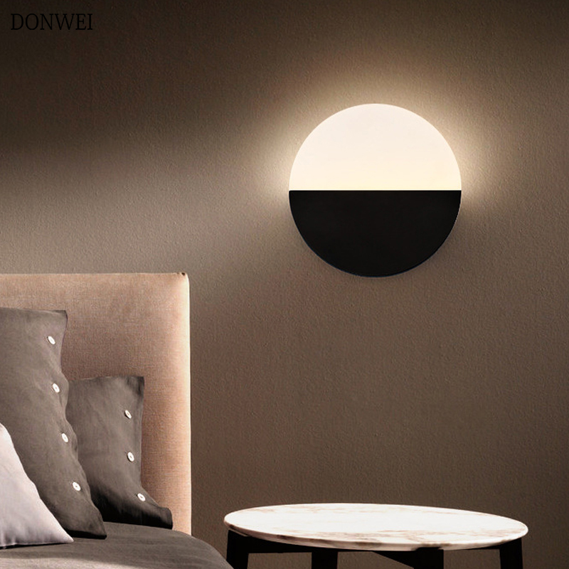 Nordic Style Round Led Wall Lamp Living Room Bedroom Bedside  LED Sconce Aisle Corridor Stairway Decoration Lighting AC96V-260V
