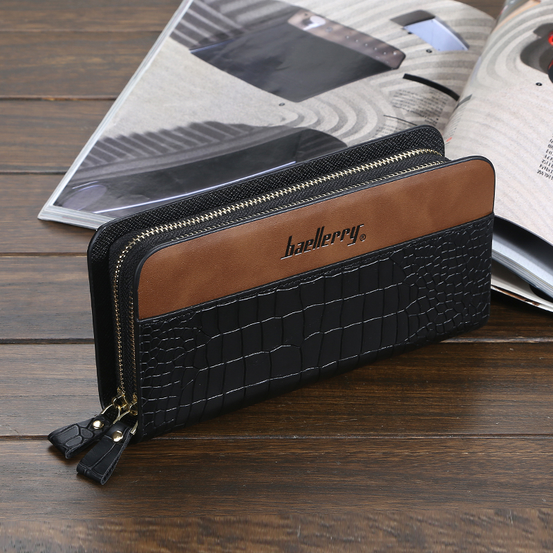 European and American fashion men's wallets long leather double zipper large capacity male business clutch wallet