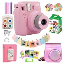 Gül pembe Fujifilm Instax Mini 9 anında Film kamera + 20 levhalar Mini 8 beyaz filmler fotoğraf + çanta kılıf + albümü + filtreler + çerçeveleri