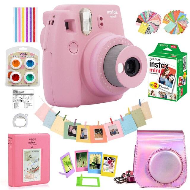 Rose Rosa Fujifilm Instax Mini 9 Instant Film Kamera + 20 Blätter Mini 8 Weiß Filme Fotos + Tasche Fall + Album + Filter + Rahmen