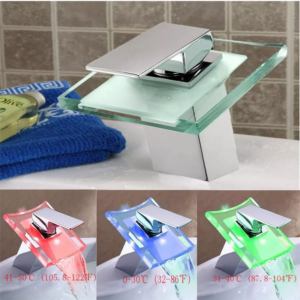 LED Color Changing Waterfall Faucet Bathroom Sink Faucet Glass Mixer Tap Bathroom Accessories