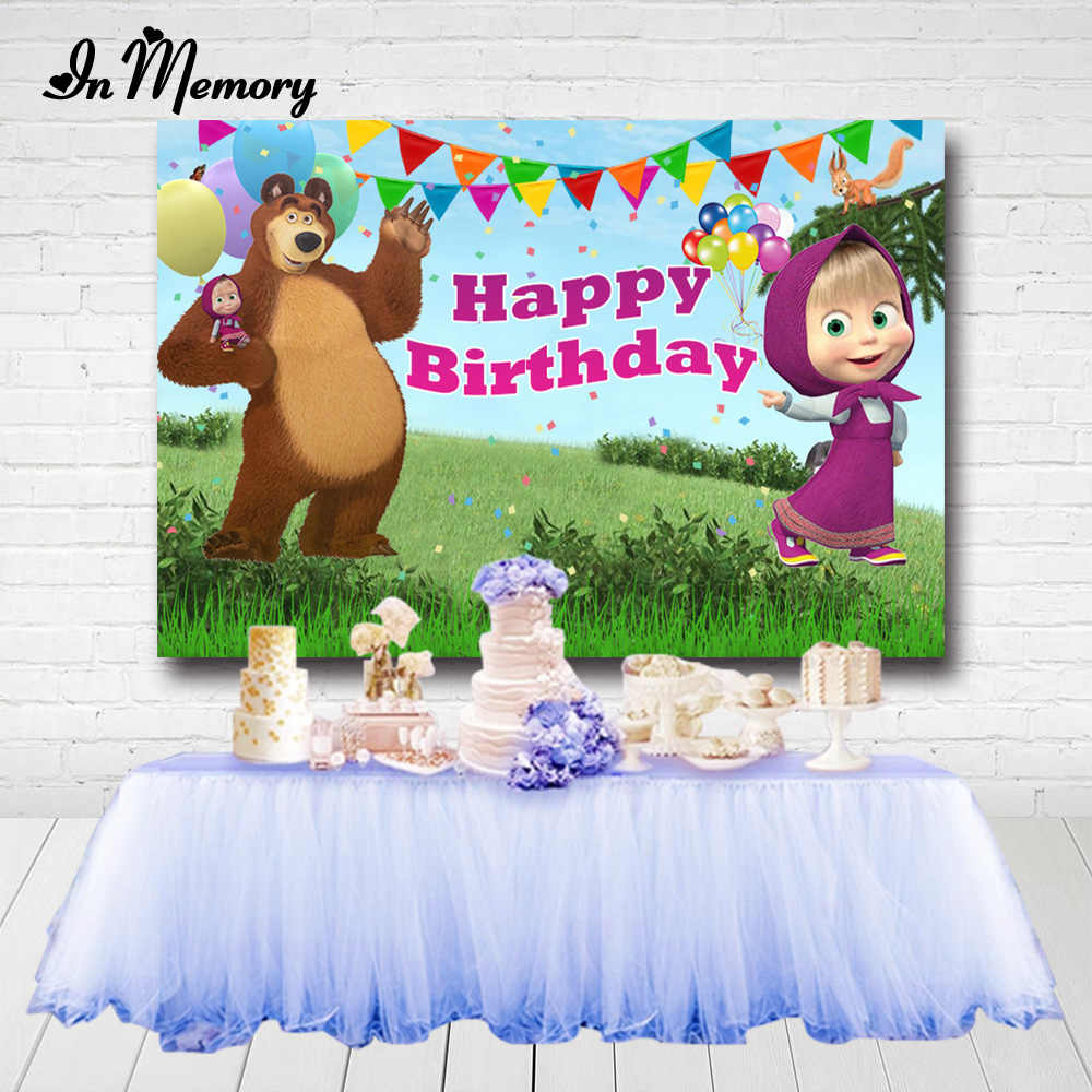 Fotografie Achtergronden Cartoon Masha En Bear Kids Birthday Party Achtergrond Jungle Adventure Fotostudio Banner Custom