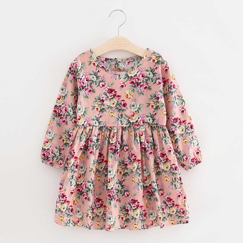 เด็กใหม่ชุดเดรสแขนยาวหญิงดอกไม้พิมพ์ชุดเจ้าหญิงเสื้อผ้าเด็กฤดูร้อน2 3 4 5 6 7ปีสาวElegantชุด