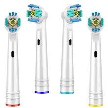3d branqueamento escova de dentes elétrica substituição cabeças para braun oral b cabeças escova de dentes 4pcs cabeça para oralb