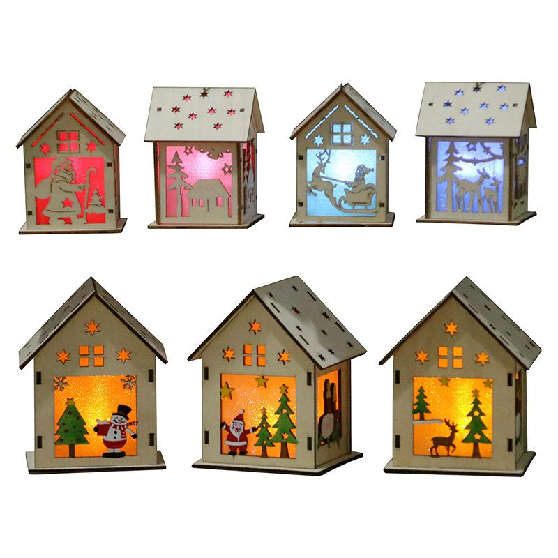GloryStar Xmas Luminous Wooden House Hotel Christmas Tree Window Decoration Pendant Ornaments DIY Gift