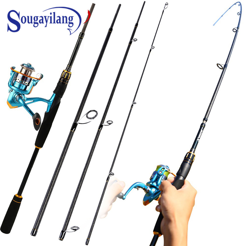 Sougayilang Lure Fishing Rod and Reel Combo 4 Section Carbon Fiber Fishing Pole with 11+1BB Spinning Reels for Travel Fishing