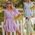 Элегантное мини-платье с аппликацией для женщин, летнее платье с коротким рукавом, v-образным вырезом и оборками, 2021, женское повседневное пр...