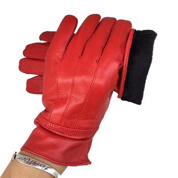Women winter leather gloves Warm genuine Red sheepskin autumn fashion female windproof G17