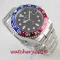 40 мм PARNIS черный циферблат сапфировое стекло gmt Дата автоматическое движение Мужские часы