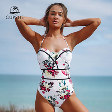 CUPSHE Romantic Floral Print Halter One Piece Swimsuit 2020 Women Sexy Push Up Monokini Bathing Suits