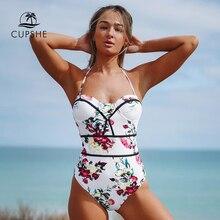 CUPSHE solide sarcelle ébouriffée une pièce maillot de bain femmes Sexy Monokini maillots de bain 2019 fille plaine maillot de plage