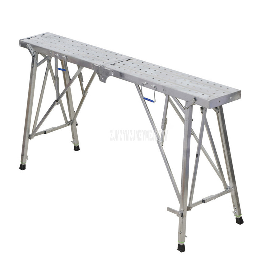 1.4m/1.6m/1.8m Foldable Long Bench High Foot Stool Height Adjustable Industrial Construction Tool House Wall Painting Bench